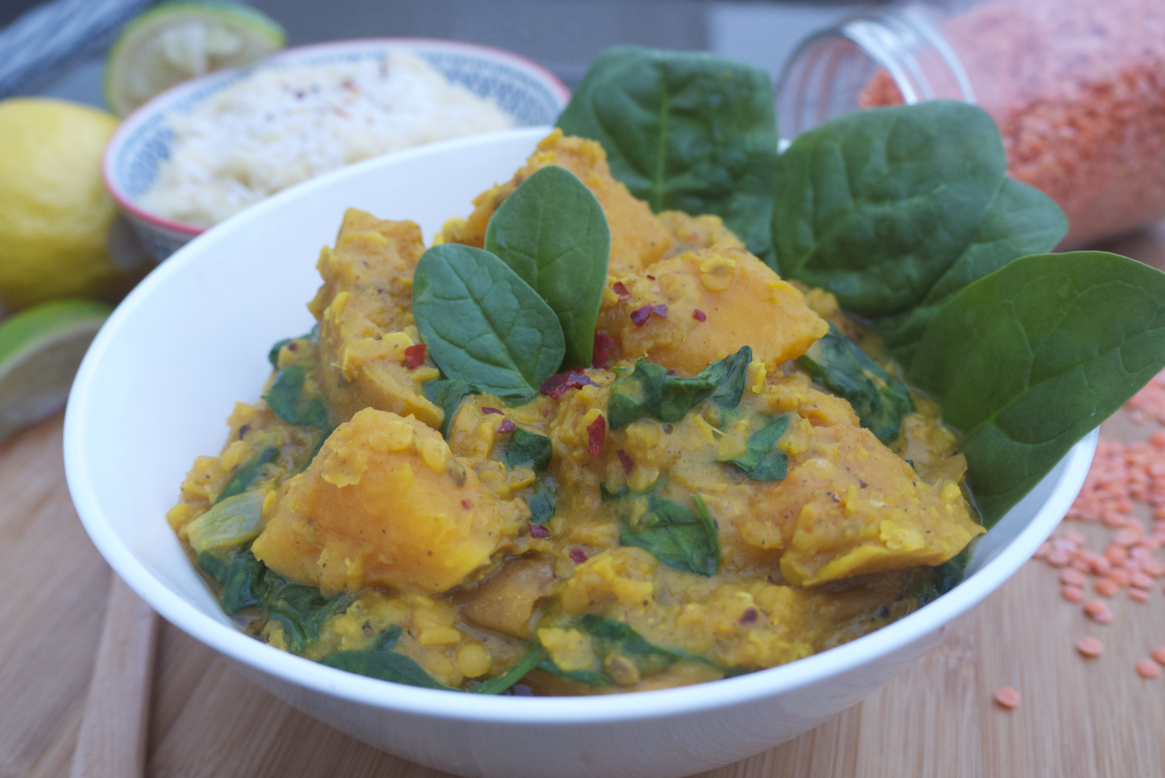 Roast Butternut Squash and Red Lentil Curry with Coconut-Lime Millet ...