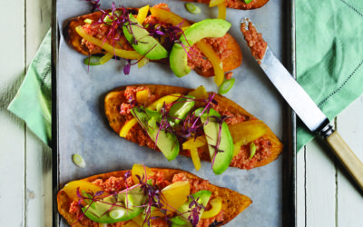 Sweet potato and avocado bruschettas